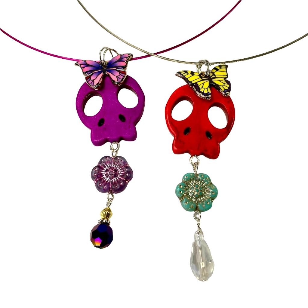Sugar skull butterfly pendants