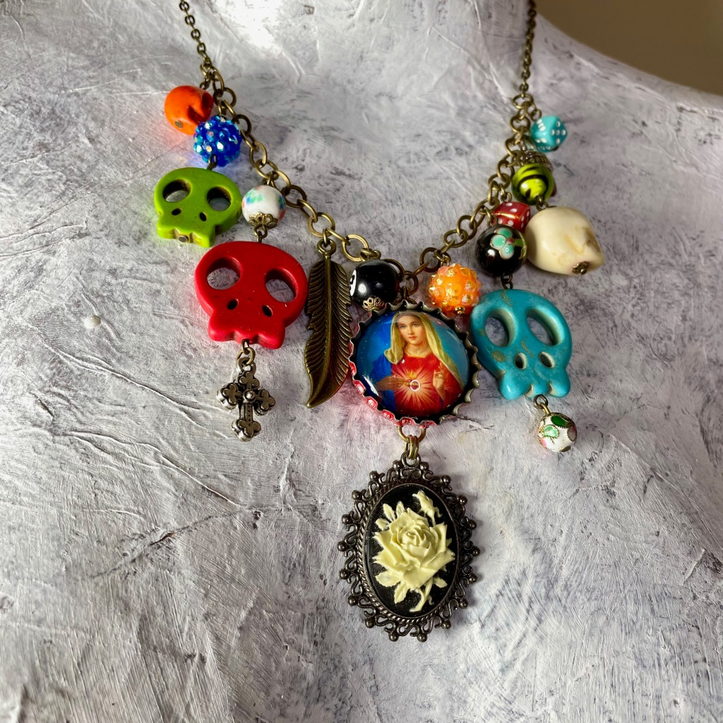 Upcycled sugar skull statement necklace